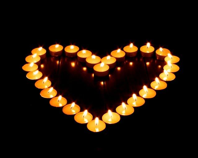 Lit candle meditation.